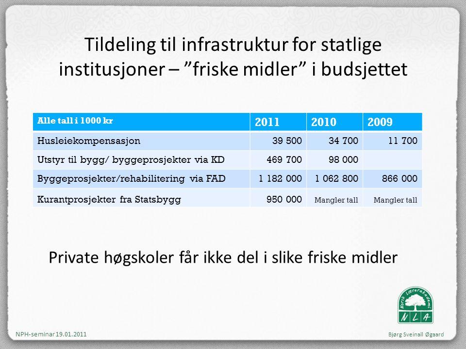 """Tildeling til infrastruktur for statlige institusjoner – """"friske midler"""" i budsjettet Alle tall i 1000 kr 201120102009 Husleiekompensasjon39 50034 700"""