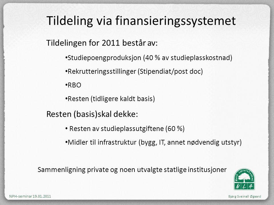 Tildeling via finansieringssystemet Tildelingen for 2011 består av: • Studiepoengproduksjon (40 % av studieplasskostnad) • Rekrutteringsstillinger (St