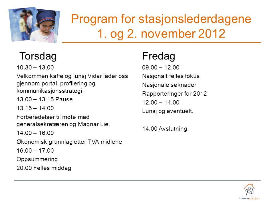 Program for stasjonslederdagene 1. og 2. november 2012 Torsdag 10.30 – 13.00 Velkommen kaffe og lunsj Vidar leder oss gjennom portal, profilering og k
