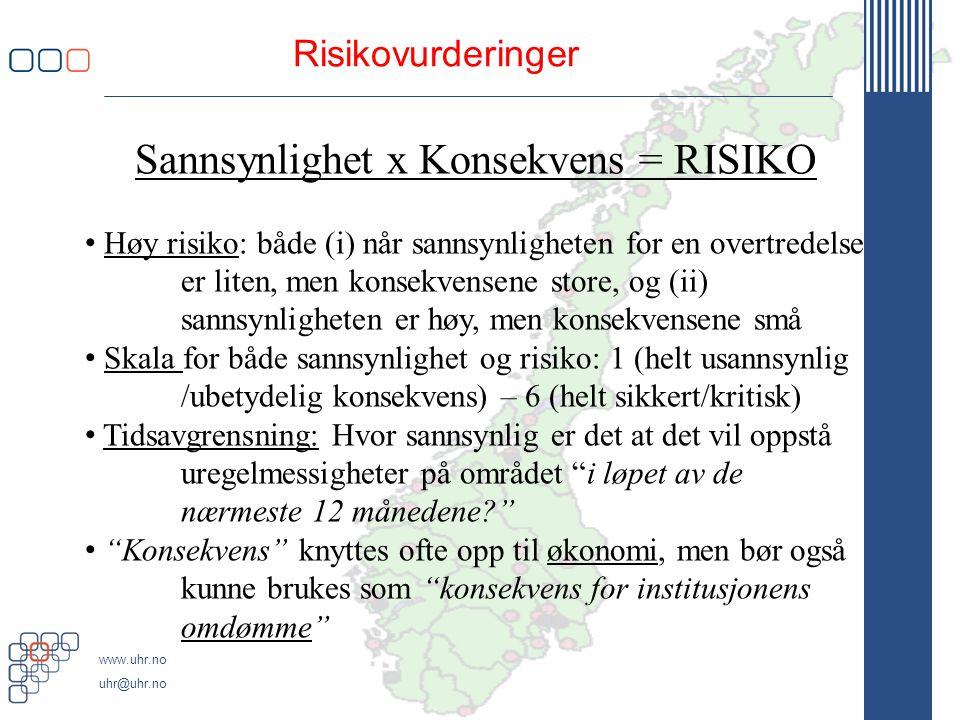 www.uhr.no uhr@uhr.no Risikovurderinger Sannsynlighet x Konsekvens = RISIKO • Høy risiko: både (i) når sannsynligheten for en overtredelse er liten, men konsekvensene store, og (ii) sannsynligheten er høy, men konsekvensene små • Skala for både sannsynlighet og risiko: 1 (helt usannsynlig /ubetydelig konsekvens) – 6 (helt sikkert/kritisk) • Tidsavgrensning: Hvor sannsynlig er det at det vil oppstå uregelmessigheter på området i løpet av de nærmeste 12 månedene? • Konsekvens knyttes ofte opp til økonomi, men bør også kunne brukes som konsekvens for institusjonens omdømme