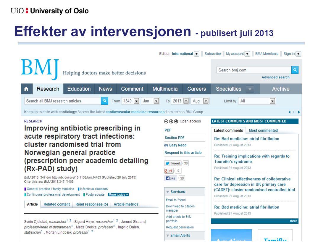 Effekter av intervensjonen - publisert juli 2013