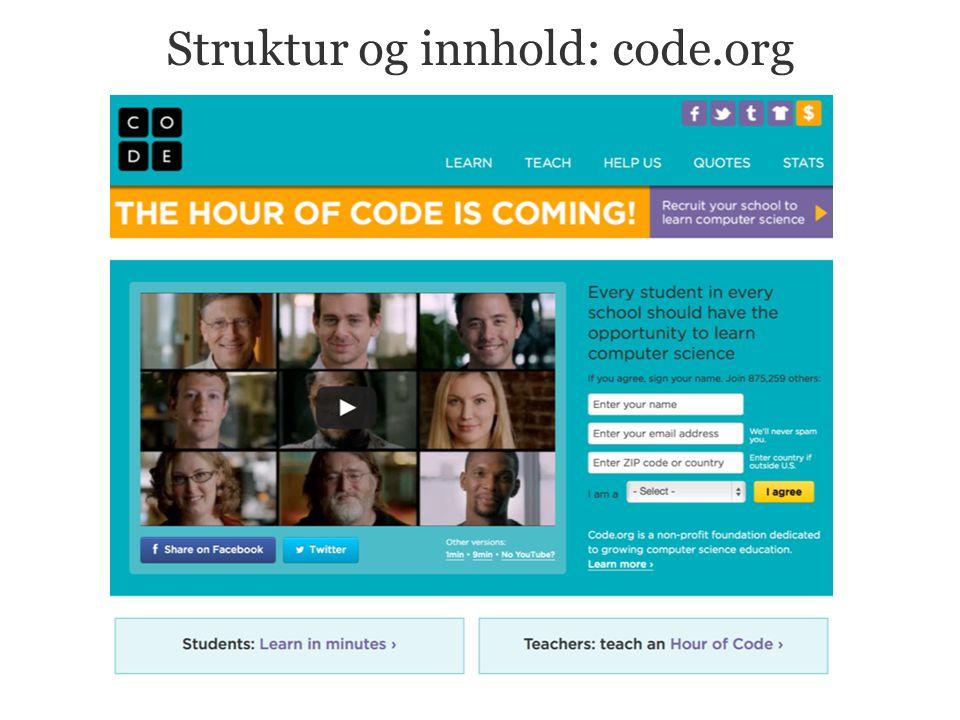 Struktur og innhold: code.org