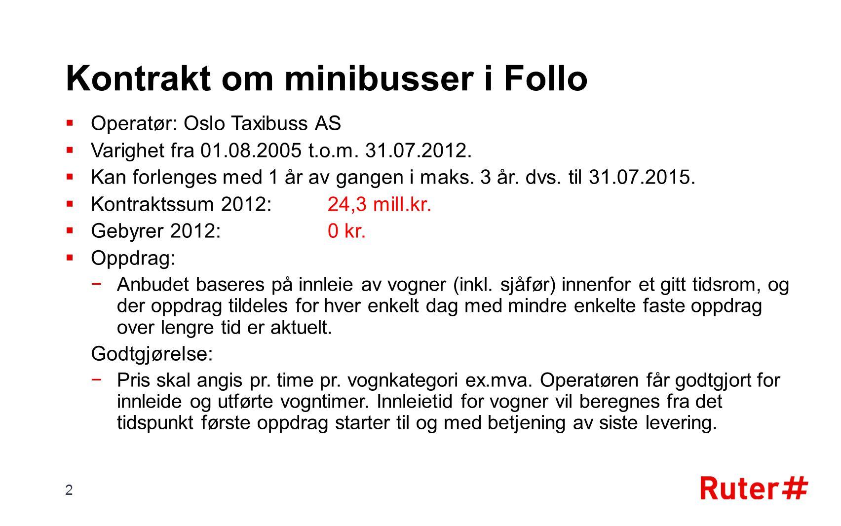 Kontrakt om minibusser i Follo  Operatør: Oslo Taxibuss AS  Varighet fra 01.08.2005 t.o.m. 31.07.2012.  Kan forlenges med 1 år av gangen i maks. 3