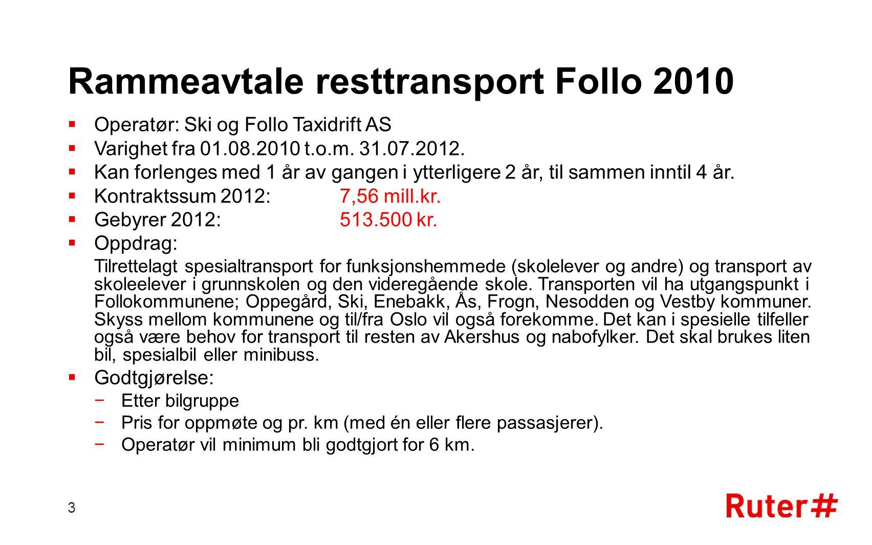Rammeavtale resttransport Follo 2010  Operatør: Ski og Follo Taxidrift AS  Varighet fra 01.08.2010 t.o.m. 31.07.2012.  Kan forlenges med 1 år av ga