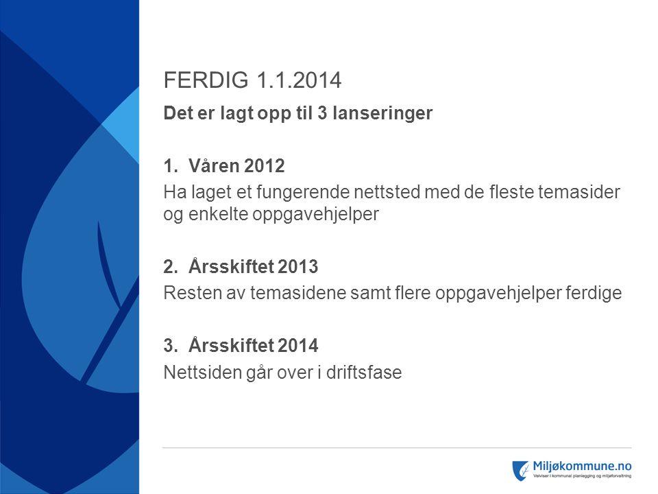 FERDIG 1.1.2014  Det er lagt opp til 3 lanseringer  1. Våren 2012  Ha laget et fungerende nettsted med de fleste temasider og enkelte oppgavehjelpe