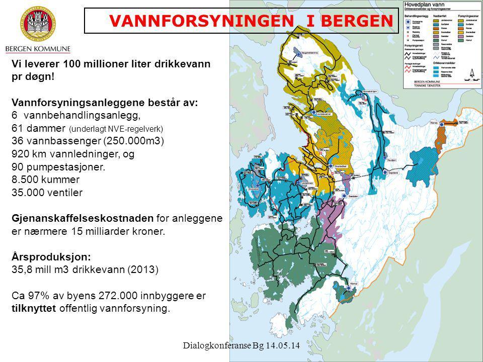 4 Vi leverer 100 millioner liter drikkevann pr døgn! Vannforsyningsanleggene består av: 6 vannbehandlingsanlegg, 61 dammer (underlagt NVE-regelverk) 3