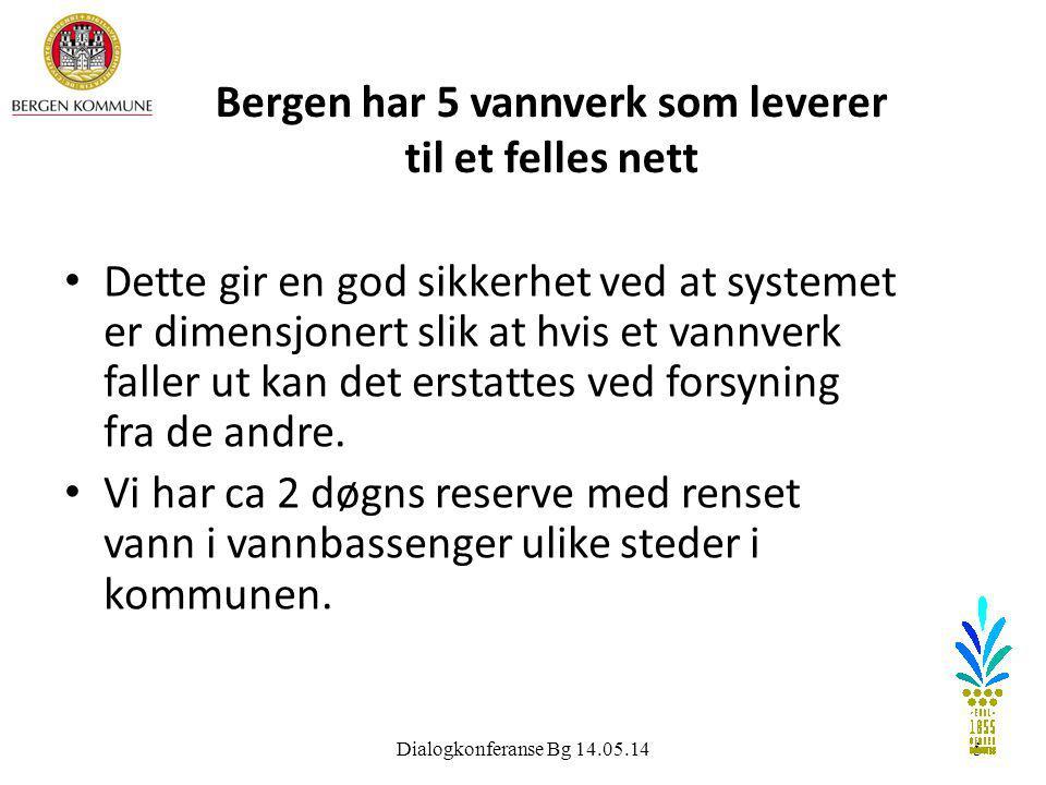 5 Bergen har 5 vannverk som leverer til et felles nett • Dette gir en god sikkerhet ved at systemet er dimensjonert slik at hvis et vannverk faller ut