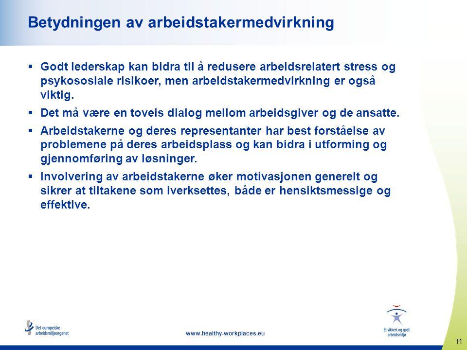 11 www.healthy-workplaces.eu Betydningen av arbeidstakermedvirkning  Godt lederskap kan bidra til å redusere arbeidsrelatert stress og psykososiale r