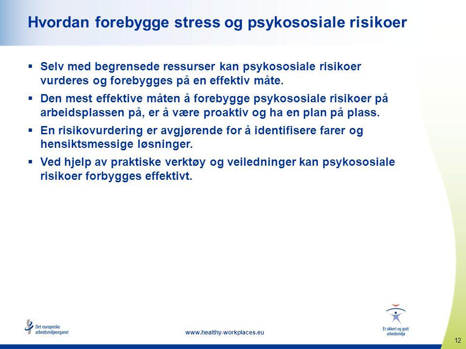 12 www.healthy-workplaces.eu Hvordan forebygge stress og psykososiale risikoer  Selv med begrensede ressurser kan psykososiale risikoer vurderes og f