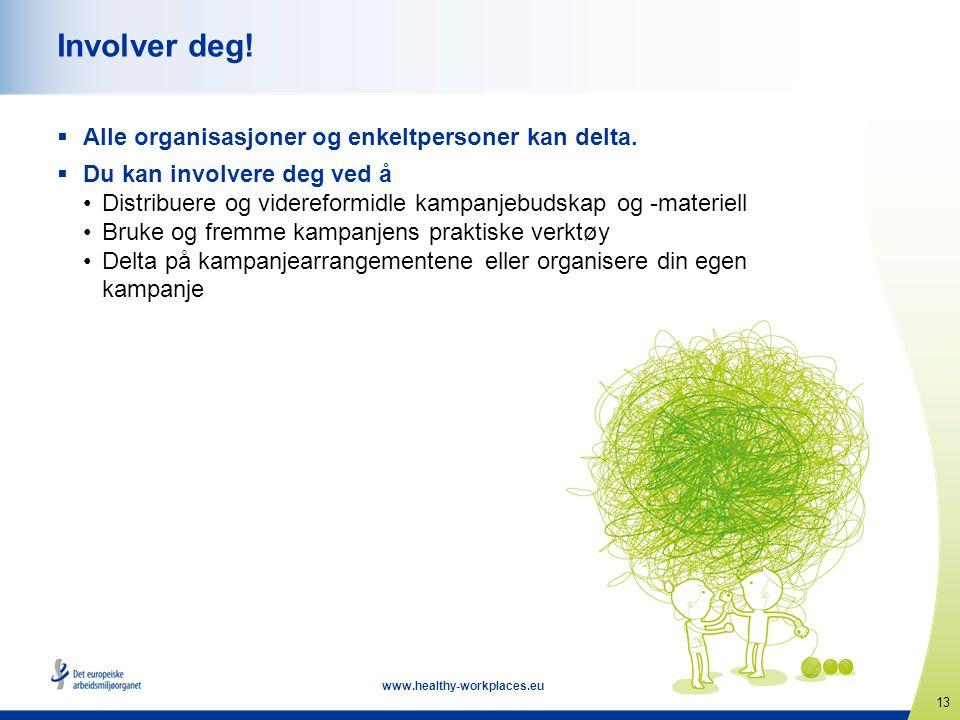 13 www.healthy-workplaces.eu Involver deg!  Alle organisasjoner og enkeltpersoner kan delta.  Du kan involvere deg ved å •Distribuere og videreformi