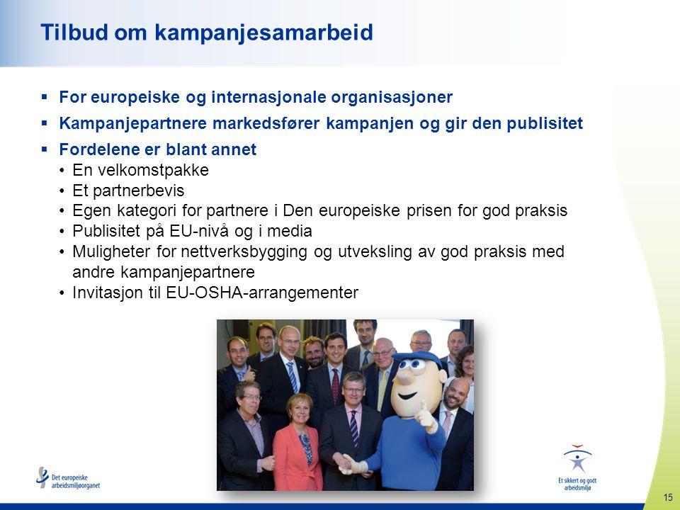 15 www.healthy-workplaces.eu Tilbud om kampanjesamarbeid  For europeiske og internasjonale organisasjoner  Kampanjepartnere markedsfører kampanjen o