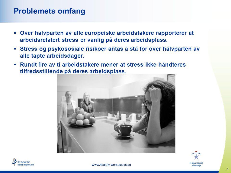 4 www.healthy-workplaces.eu Problemets omfang  Over halvparten av alle europeiske arbeidstakere rapporterer at arbeidsrelatert stress er vanlig på de
