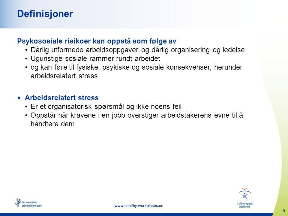 5 www.healthy-workplaces.eu Definisjoner Psykososiale risikoer kan oppstå som følge av •Dårlig utformede arbeidsoppgaver og dårlig organisering og led