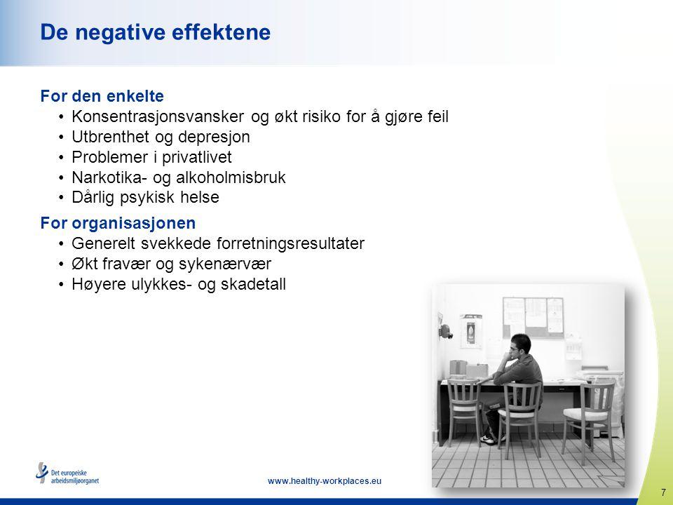 7 www.healthy-workplaces.eu De negative effektene For den enkelte •Konsentrasjonsvansker og økt risiko for å gjøre feil •Utbrenthet og depresjon •Prob