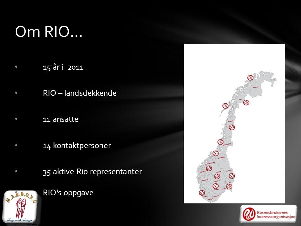RI • 15 år i 2011 O15 – landsdekkende • RIO – landsdekkende • 11 ansatte • 14 kontaktpersoner • 35 aktive Rio representanter • RIO's oppgave • - 11 an