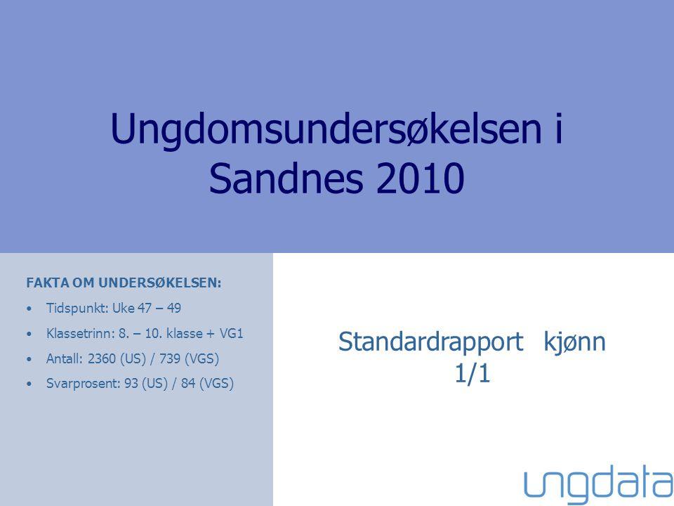 Ungdomsundersøkelsen i Sandnes 2010 Standardrapport kjønn 1/1 FAKTA OM UNDERSØKELSEN: •Tidspunkt: Uke 47 – 49 •Klassetrinn: 8.