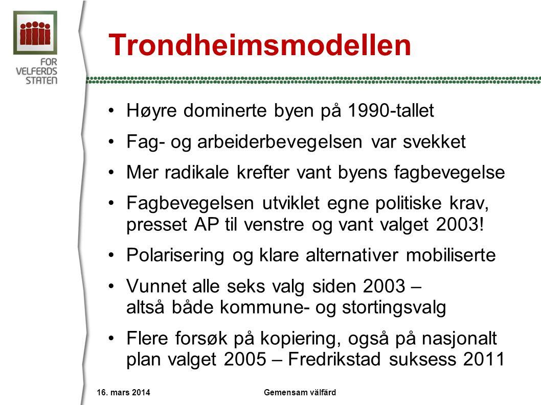 Trondheimsmodellen •Høyre dominerte byen på 1990-tallet •Fag- og arbeiderbevegelsen var svekket •Mer radikale krefter vant byens fagbevegelse •Fagbeve