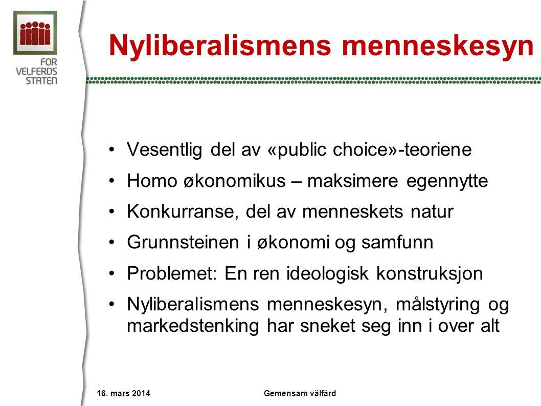 Nyliberalismens menneskesyn •Vesentlig del av «public choice»-teoriene •Homo økonomikus – maksimere egennytte •Konkurranse, del av menneskets natur •G