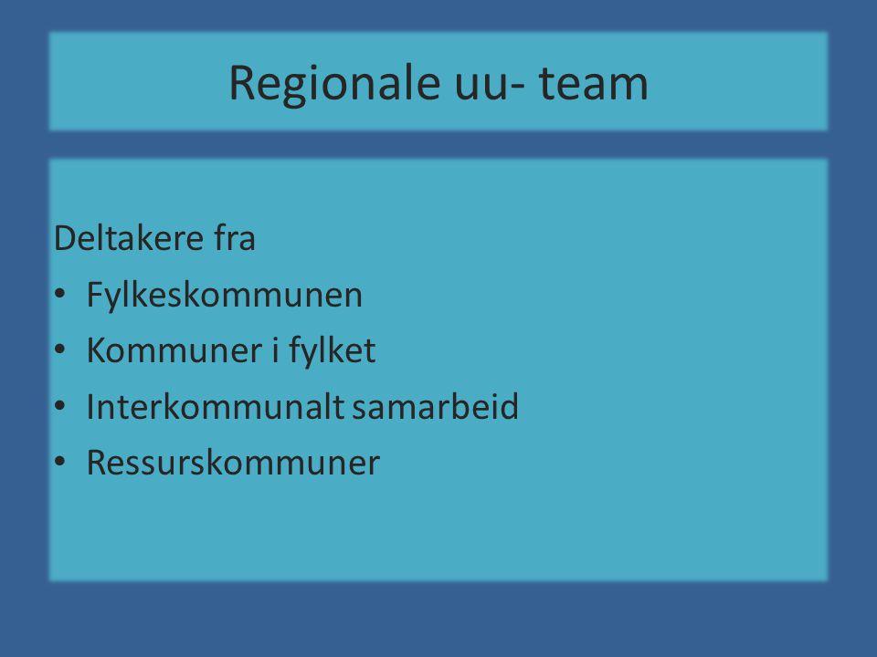 Regionale uu- team Deltakere fra • Fylkeskommunen • Kommuner i fylket • Interkommunalt samarbeid • Ressurskommuner