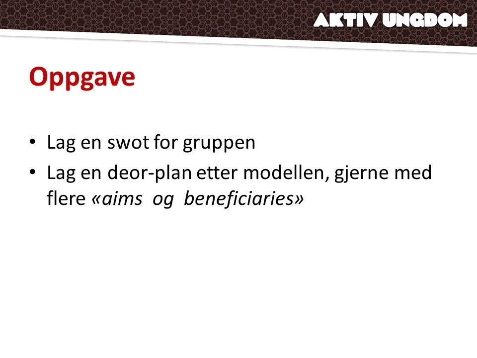 Oppgave • Lag en swot for gruppen • Lag en deor-plan etter modellen, gjerne med flere «aims og beneficiaries»