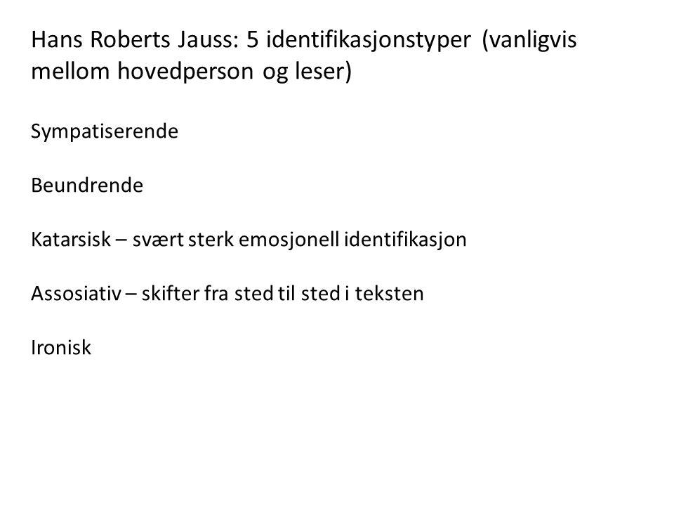 Hans Roberts Jauss: 5 identifikasjonstyper (vanligvis mellom hovedperson og leser) Sympatiserende Beundrende Katarsisk – svært sterk emosjonell identi