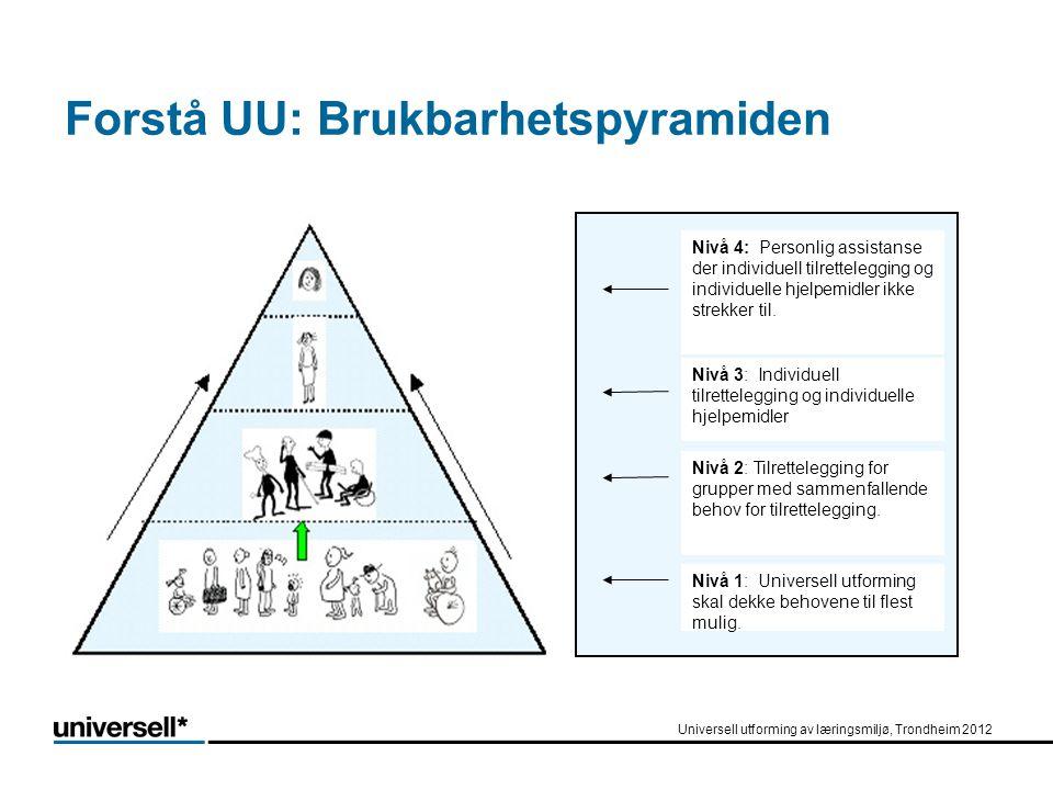 Forstå UU: Brukbarhetspyramiden Nivå 4: Personlig assistanse der individuell tilrettelegging og individuelle hjelpemidler ikke strekker til. Nivå 1: U