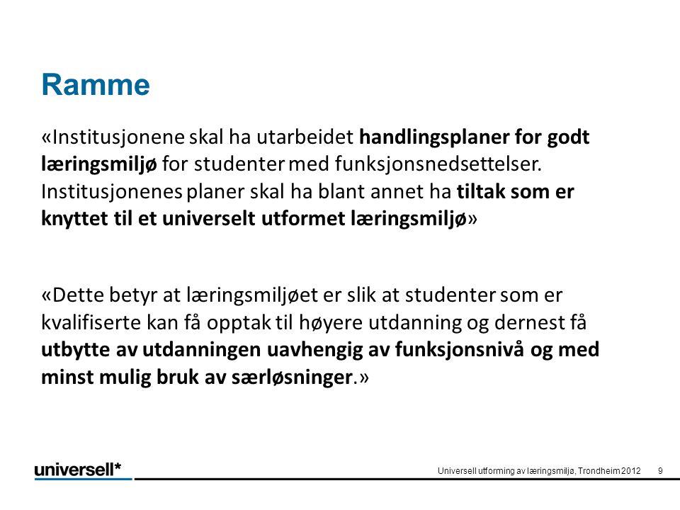 20 •VUU – veileder universell utforming - enkelt og tydelig - lett å uttale - www.vuu.nowww.vuu.no Universell utforming av læringsmiljø, Trondheim 2012