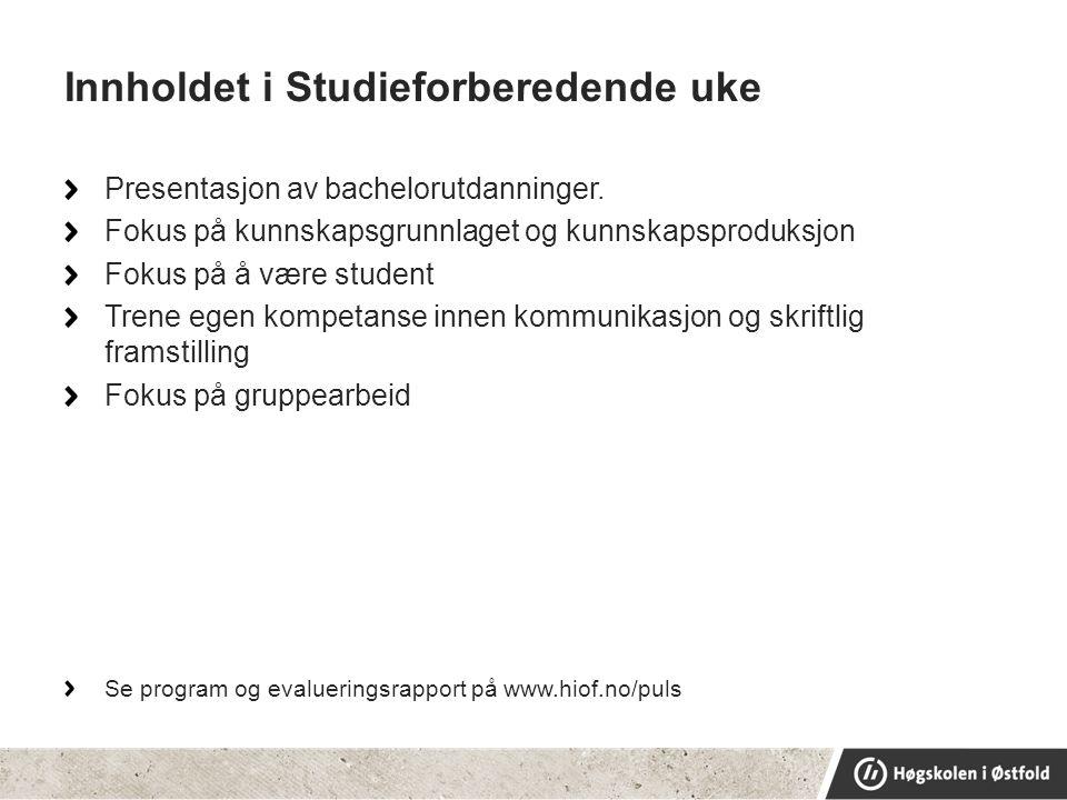 Innholdet i Studieforberedende uke Presentasjon av bachelorutdanninger.