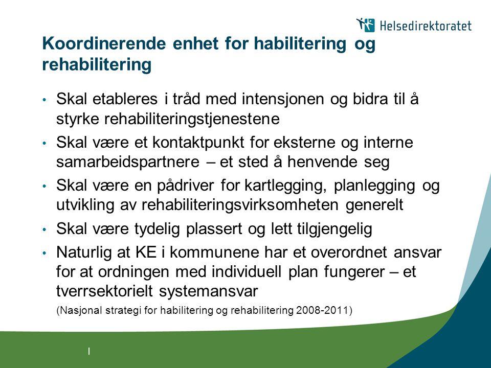 | Funksjon og rolle til KE i kommunene • Kartlegging av KE i 192 kommuner – Synovate, januar 2009 • Rapport: Undersøkelse om rollen til koordinerende enhet for habilitering og rehabilitering i kommunene (2009)