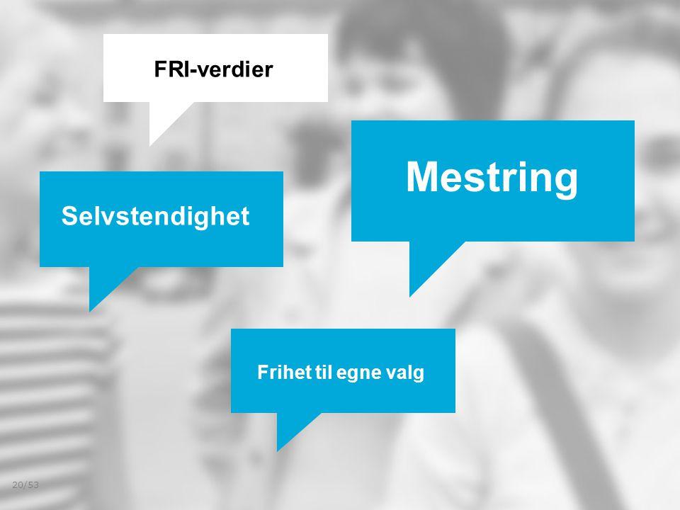 Selvstendighet Frihet til egne valg Mestring FRI-verdier 20/53