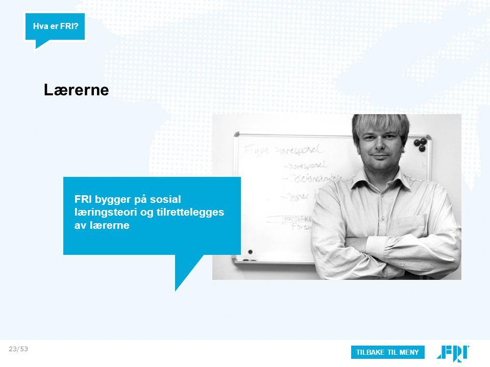 Lærerne Hva er FRI? TILBAKE TIL MENY FRI bygger på sosial læringsteori og tilrettelegges av lærerne 23/53