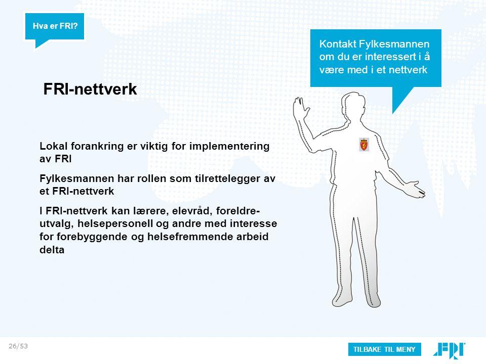 FRI-nettverk Hva er FRI? Lokal forankring er viktig for implementering av FRI Fylkesmannen har rollen som tilrettelegger av et FRI-nettverk I FRI-nett