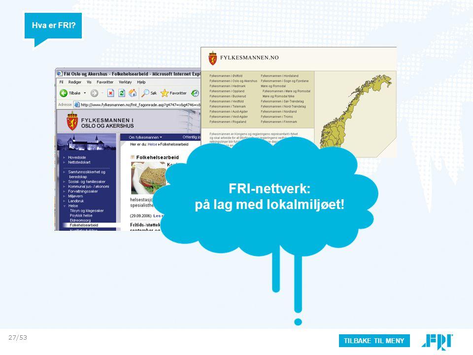 Hva er FRI? TILBAKE TIL MENY FRI-nettverk: på lag med lokalmiljøet! 27/53