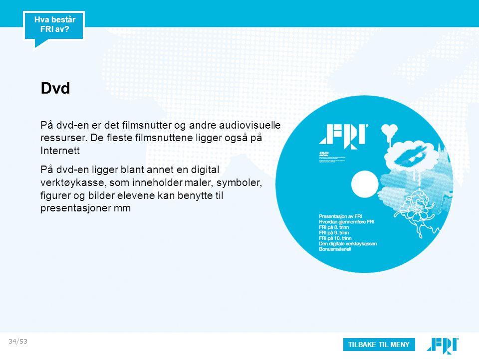 Dvd På dvd-en er det filmsnutter og andre audiovisuelle ressurser. De fleste filmsnuttene ligger også på Internett På dvd-en ligger blant annet en dig