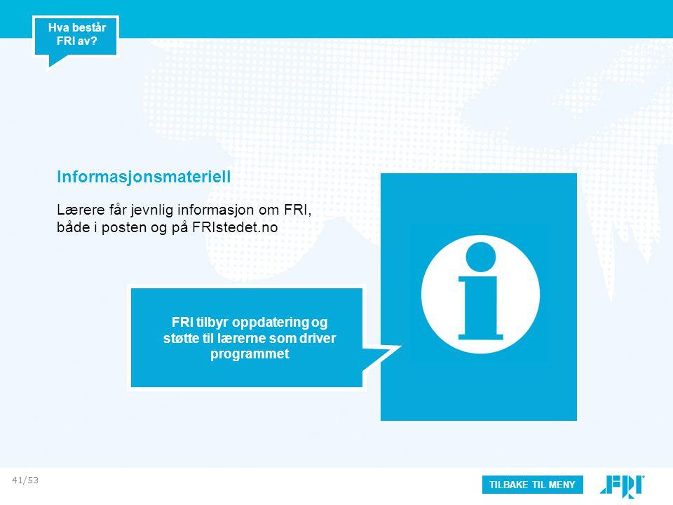 Informasjonsmateriell Lærere får jevnlig informasjon om FRI, både i posten og på FRIstedet.no FRI tilbyr oppdatering og støtte til lærerne som driver