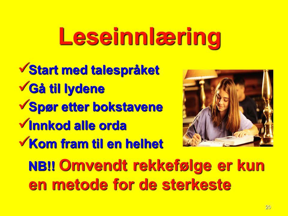 20 Leseinnlæring Leseinnlæring  Start med talespråket  Gå til lydene  Spør etter bokstavene  Innkod alle orda  Kom fram til en helhet NB!! Omvend