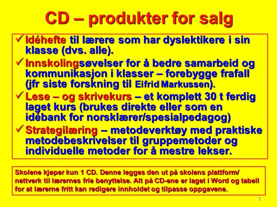 3 CD – produkter for salg  Idéhefte til lærere som har dyslektikere i sin klasse (dvs. alle).  Innskolingsøvelser for å bedre samarbeid og kommunika