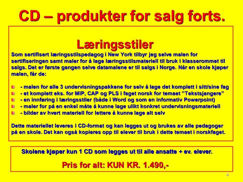 4 CD – produkter for salg forts. Læringsstiler Læringsstiler Som sertifisert læringsstilspedagog i New York tilbyr jeg selve malen for sertifiseringen