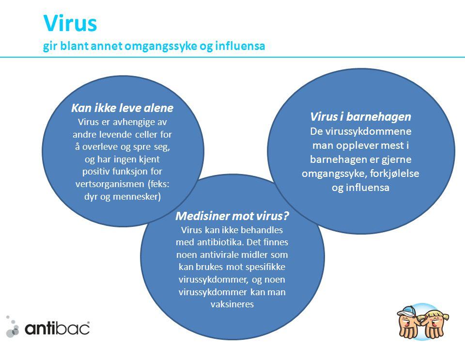 Virus gir blant annet omgangssyke og influensa Medisiner mot virus.