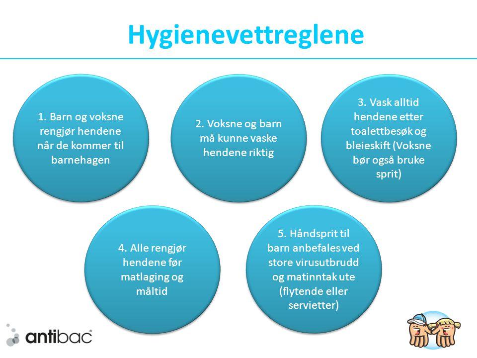 Hygienevettreglene 1.Barn og voksne rengjør hendene når de kommer til barnehagen 3.