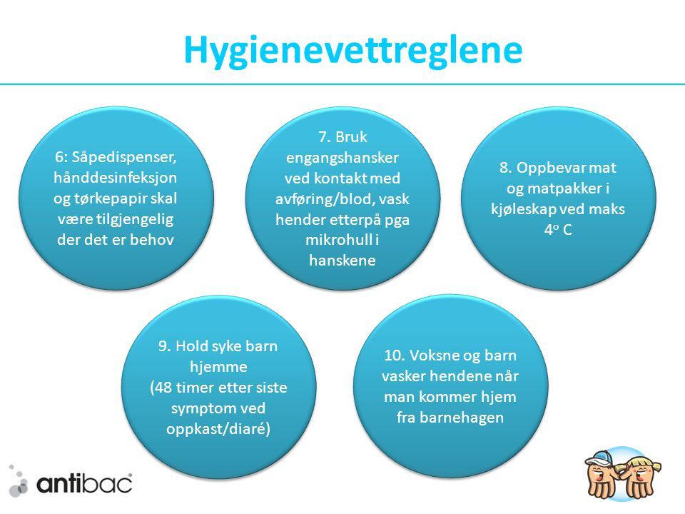 Hygienevettreglene 6: Såpedispenser, hånddesinfeksjon og tørkepapir skal være tilgjengelig der det er behov 8.