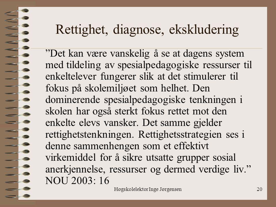 """Høgskolelektor Inge Jørgensen20 Rettighet, diagnose, ekskludering """"Det kan være vanskelig å se at dagens system med tildeling av spesialpedagogiske re"""