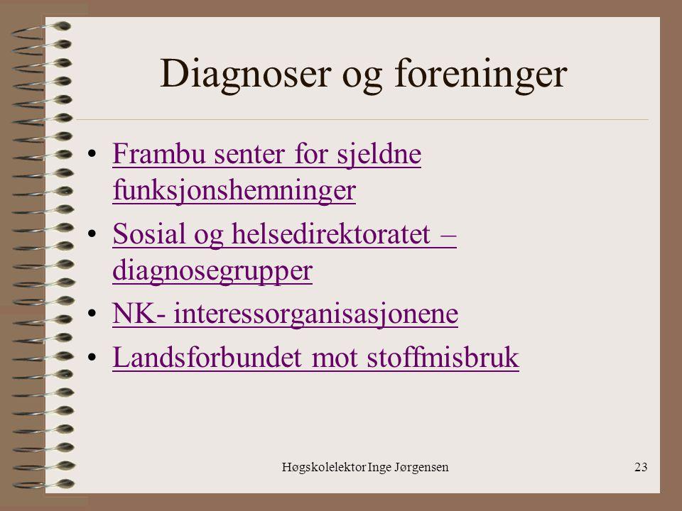 Høgskolelektor Inge Jørgensen23 Diagnoser og foreninger •Frambu senter for sjeldne funksjonshemningerFrambu senter for sjeldne funksjonshemninger •Sos