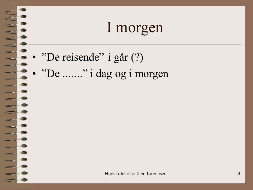 """Høgskolelektor Inge Jørgensen24 I morgen •""""De reisende"""" i går (?) •""""De......."""" i dag og i morgen"""