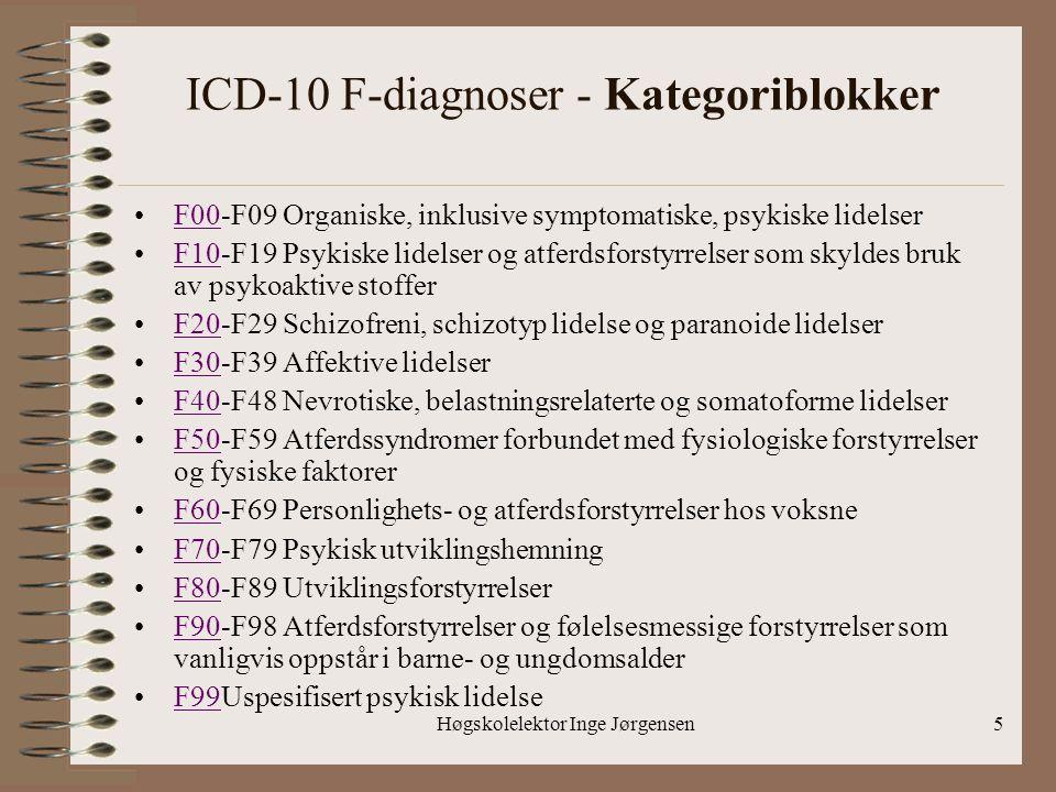Høgskolelektor Inge Jørgensen5 ICD-10 F-diagnoser - Kategoriblokker •F00-F09 Organiske, inklusive symptomatiske, psykiske lidelserF00 •F10-F19 Psykisk