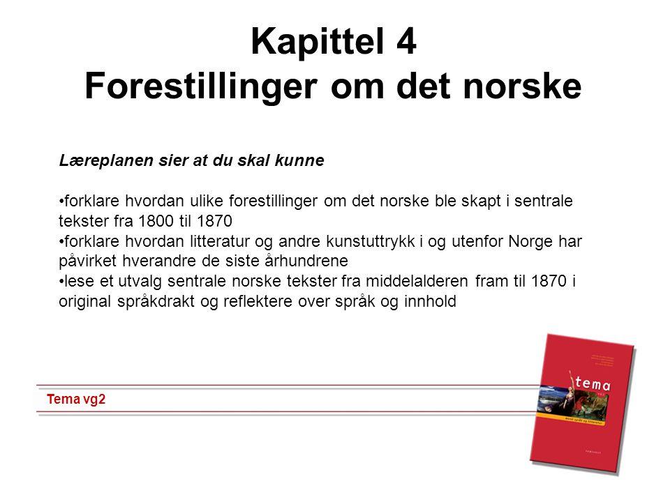 1 Kapittel 4 Forestillinger om det norske Tema vg2 Læreplanen sier at du skal kunne •forklare hvordan ulike forestillinger om det norske ble skapt i s