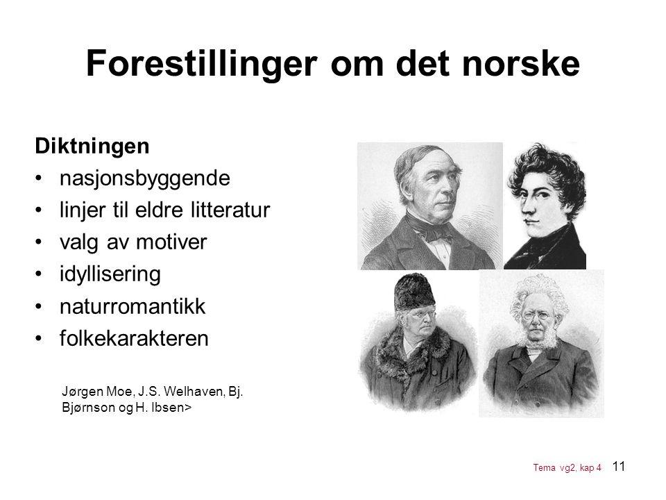 11 Forestillinger om det norske Diktningen •nasjonsbyggende •linjer til eldre litteratur •valg av motiver •idyllisering •naturromantikk •folkekarakter
