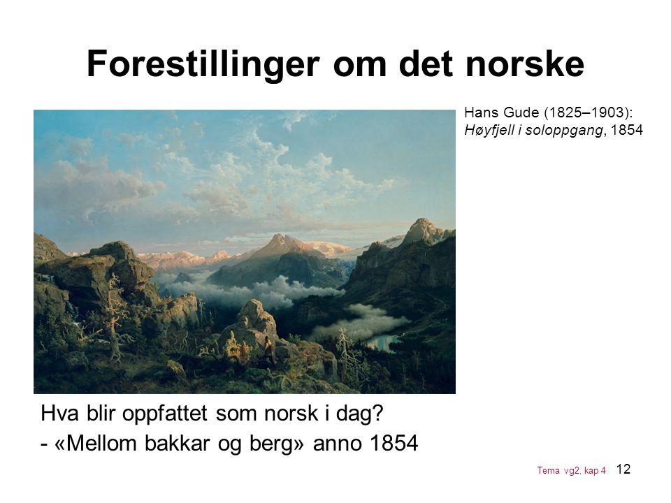 12 Hva blir oppfattet som norsk i dag? - «Mellom bakkar og berg» anno 1854 Forestillinger om det norske Tema vg2, kap 4 Hans Gude (1825–1903): Høyfjel