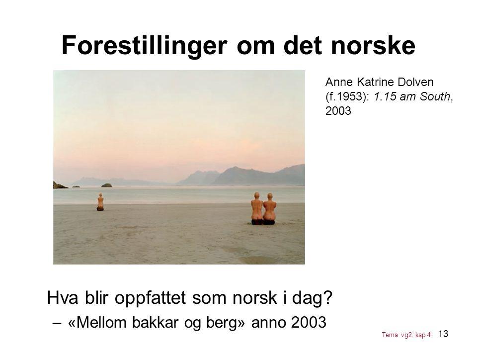 13 Forestillinger om det norske Anne Katrine Dolven (f.1953): 1.15 am South, 2003 Hva blir oppfattet som norsk i dag? –«Mellom bakkar og berg» anno 20