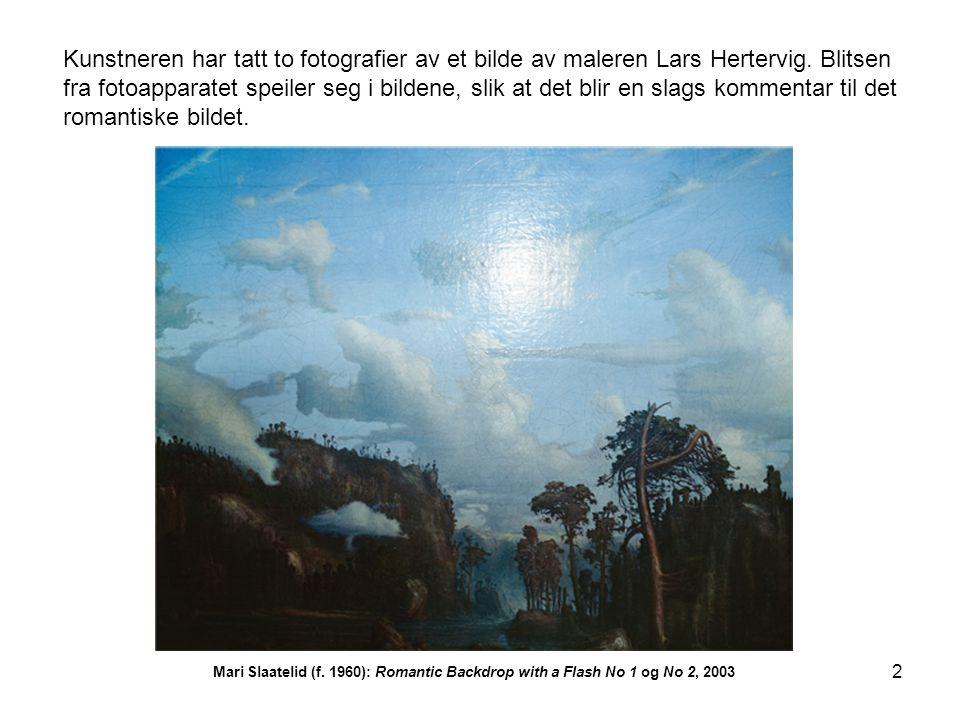 2 Kunstneren har tatt to fotografier av et bilde av maleren Lars Hertervig. Blitsen fra fotoapparatet speiler seg i bildene, slik at det blir en slags